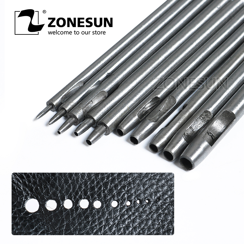 ZONESUN DIY Hollow Punch Tool LeatherCraft Watch Belt Handwork Hole Cutting Steel Puncher Hole Punch Alloy Tool  10 Pcs / Set