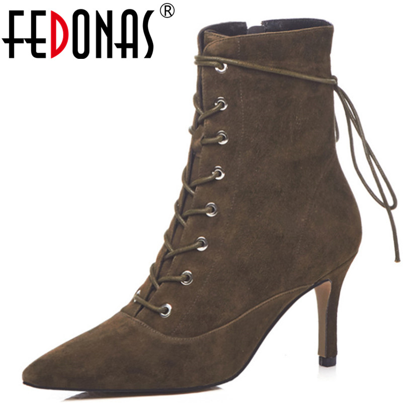 FEDONAS Fashion Brand Women Ankle Boots Sexy High Heels Autumn Winter Warm Martin Shoes Woman Pointed Toe Zipper Office Pumps цена 2017