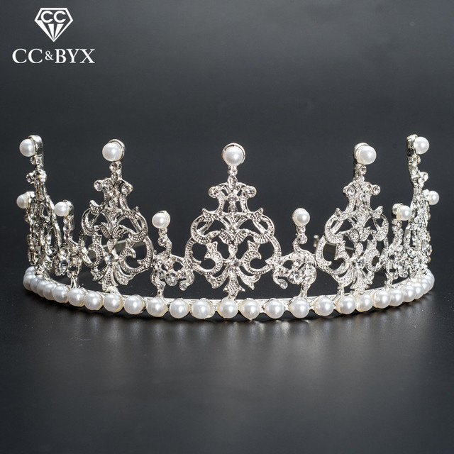 CC Crowns Tiaras Hairbands Crystal Pearl Wedding Hair Accessories For Women Engagement Brides Party Jewelry Fashion Gifts 080