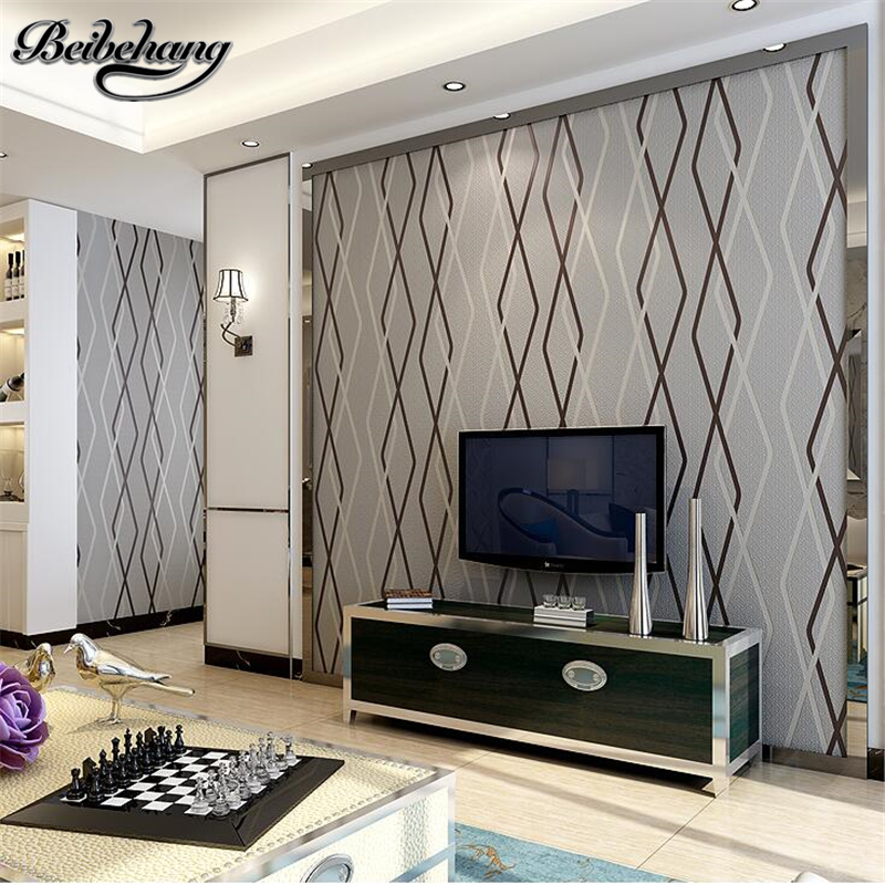 beibehang papel de parede wallpaper Modern simple rhombus striped 3d wallpapers bedroom living room wall wallpaper papier peint двусторонняя доска для рисования тачки играем вместе