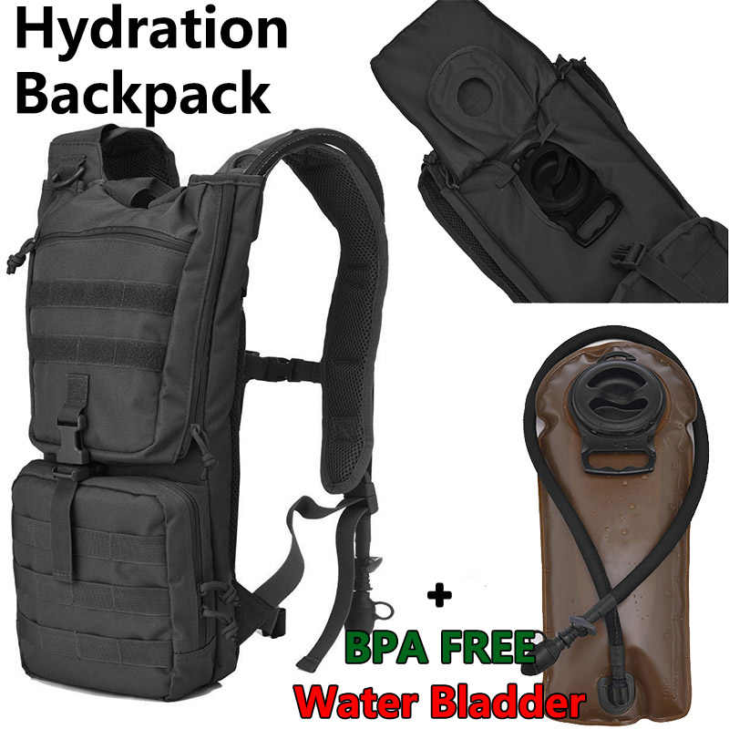 Black 3L Water Bladder Bag Hydration Backpack Military Knapsack System Tactical Bagpack Hiking Cycling Bags