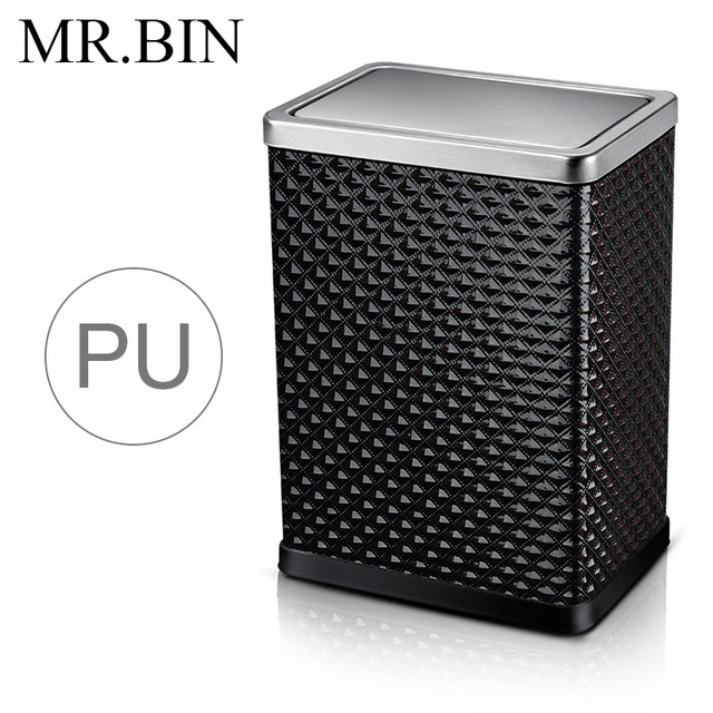 bin trash can pu material steel rolling cover type dustbin home kitchen bathroom office waste bin wbrc001 10l black diamond