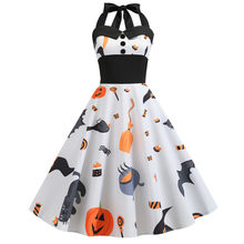 Sexy Retro White Halloween Dress Summer 2019 Robes 50s 60s Vintage Halter Dress Gothic Pin Up Rockabilly Dress Plus Size Vestido(China)