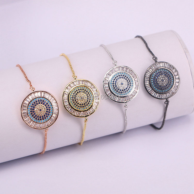 10PCS Zyunz Jewelry Women Bracelet Fashion Chain Bracelets Charm Micro Pave CZ Zircon Eyes Bracelet For