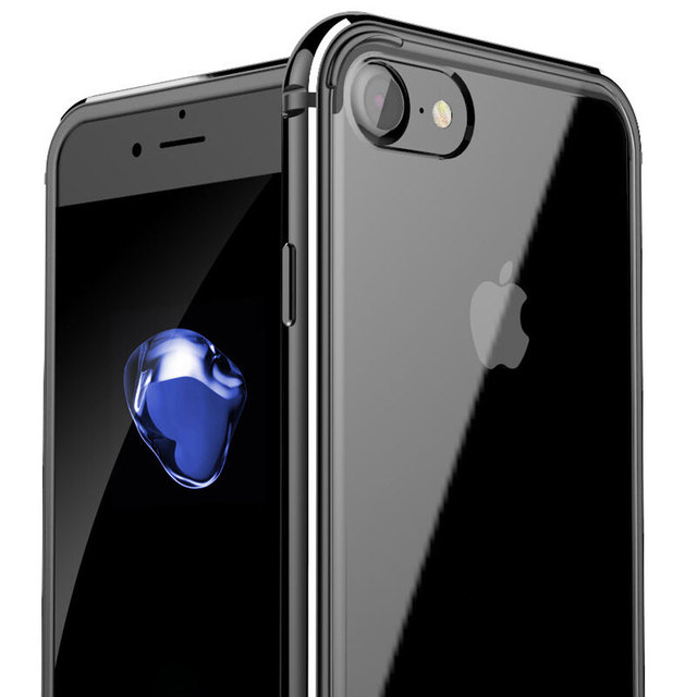 1082ef8a6ff Jet negro para iPhone 7 aluminio metal cristalino claro transparente  acrílico parte posterior Fundas para móviles