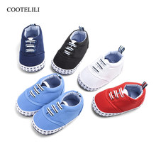 COOTELILI Canvas Baby Shoes Girls Boys Non-Slip Loafers Newborn Infant Shoes Toddler Soft Bottom Anti-slip Baby First Walker(China)