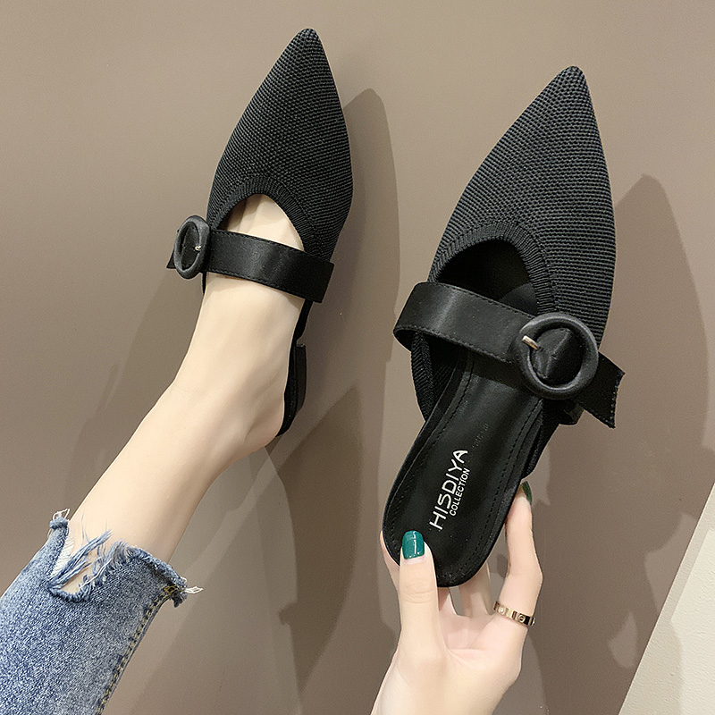 HKCP Fashion 2019 new summer pointy slippers women 39 s Korean version go with low heeled buckle half toe slippers C103 in Slippers from Shoes