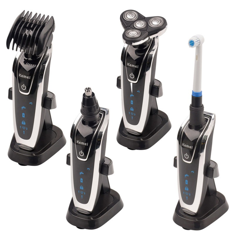 4 in 1 Washable Rechargeable Electric Shaver kemei5181 Triple Blade Electric Shaving Razors Face Care 3D Floating Free Shipping original 3 in 1 washable rechargeable electric shaver triple blade
