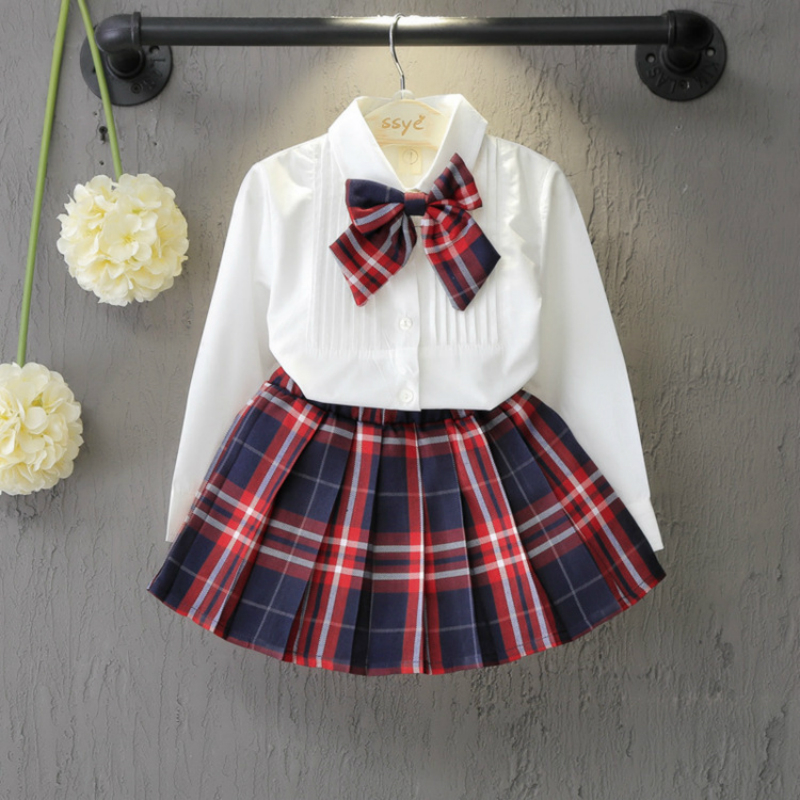 Girls Dresses 2016 Autumn Long Sleeve Turn-down Collar White Shirt+plaid Bow Patten Dress Kids Christmas Princess