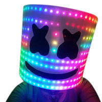 Bar MarshMello DJ Mask Tiesto LED Full Head Helmet Cosplay Party Props Supplies M09