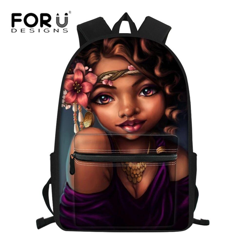 FORUDESIGNS Genç Okul gençler için çanta Büyük Dizüstü Sırt Çantası Çocuk Siyah Sanat Afrika Kız Baskı Schoolbag Satchel
