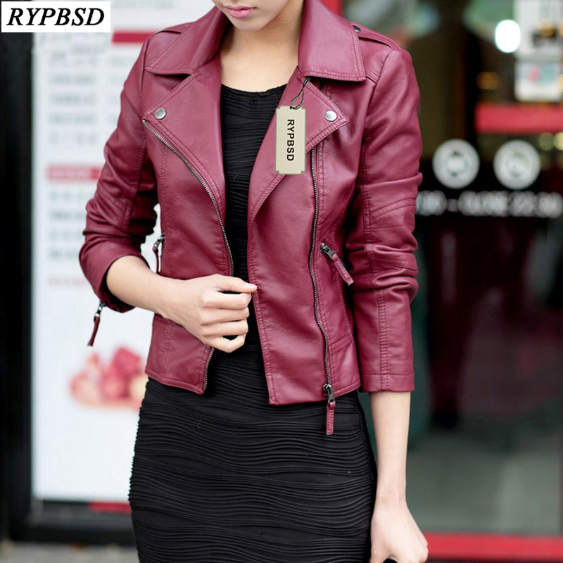 Autumn Winter Red Black Women   Leather   Jackets Soft Pu Faux   Leather   Coats Slim Short Design Turn Down Collar Motorcycle Outwear