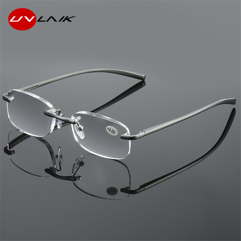 UVLAIK Frameless Reading Glasses Women Men HD Lens Round Rimless Spectacles Presbyopia Reader Glasses 1.0 1.5 2.0 2.0 2.5 3.0