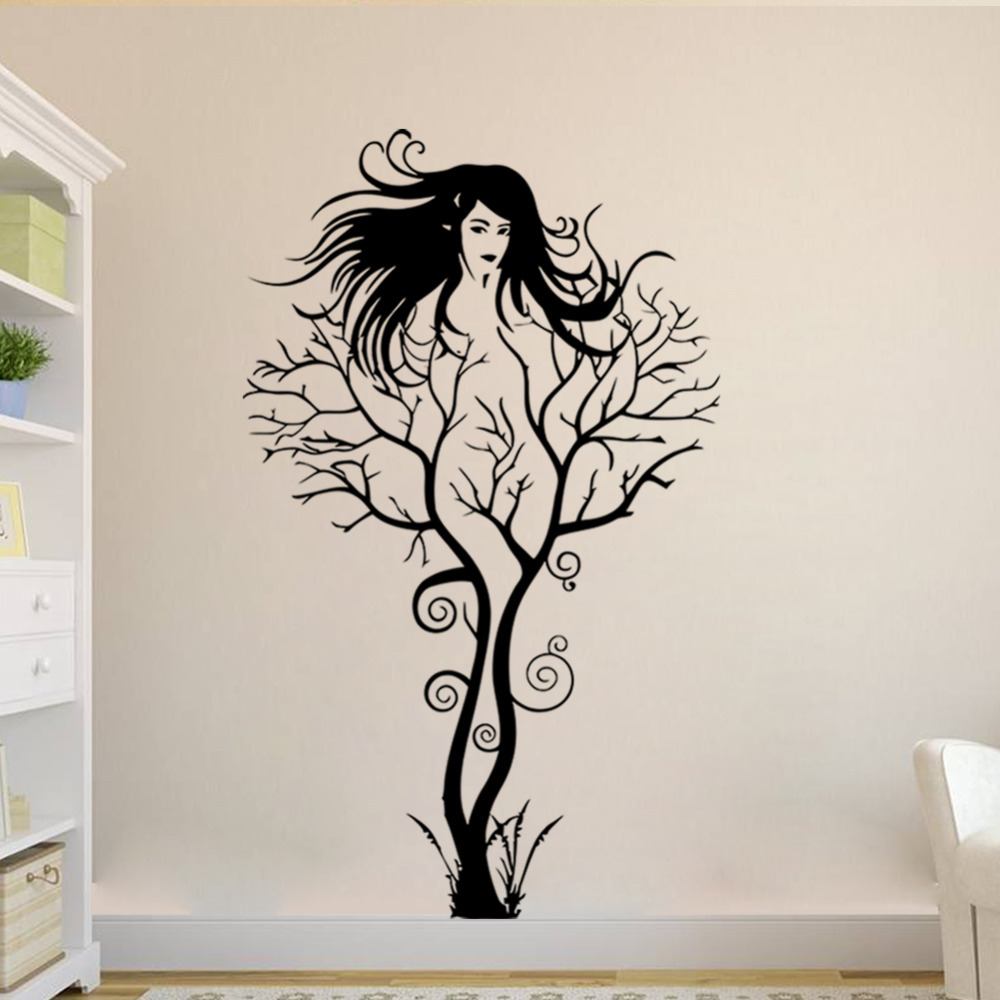 The New Personality Black Woman Image Vinyl Wall Sticker Tree Wall Decals  Room Decoration Living Room