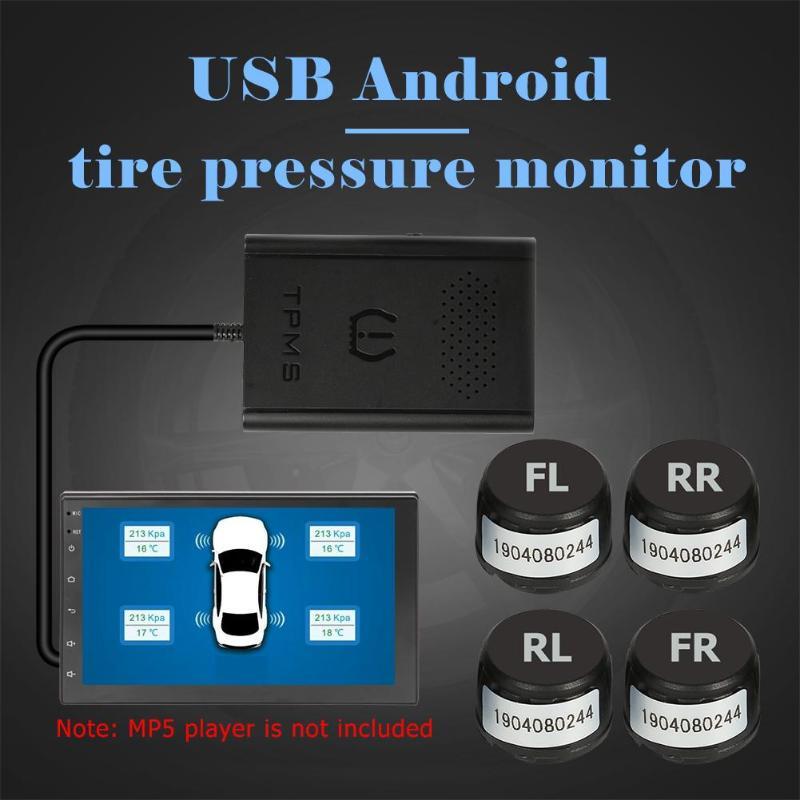 VODOOL USB voiture TPMS moniteur de pression des pneus voiture capteurs de pneus sécurité voiture pression des pneus alarme électronique pour la Navigation Android