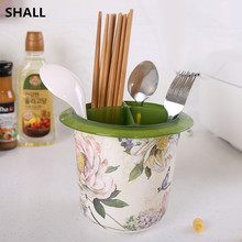 SHALL Melamine Multifunctional 4 Grid Chopsticks Cage Spoon Storage Box 2 Layer Water Drainer Shelf Kitchen Rack Detachable