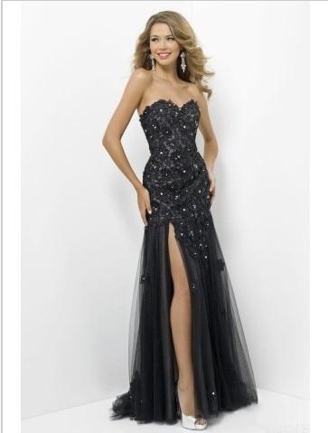 Abendkleider 2014 New Fashion Sweetheart High Slit Tull Beaded Floor Length   Prom     Dresses   With Diamond Crystal