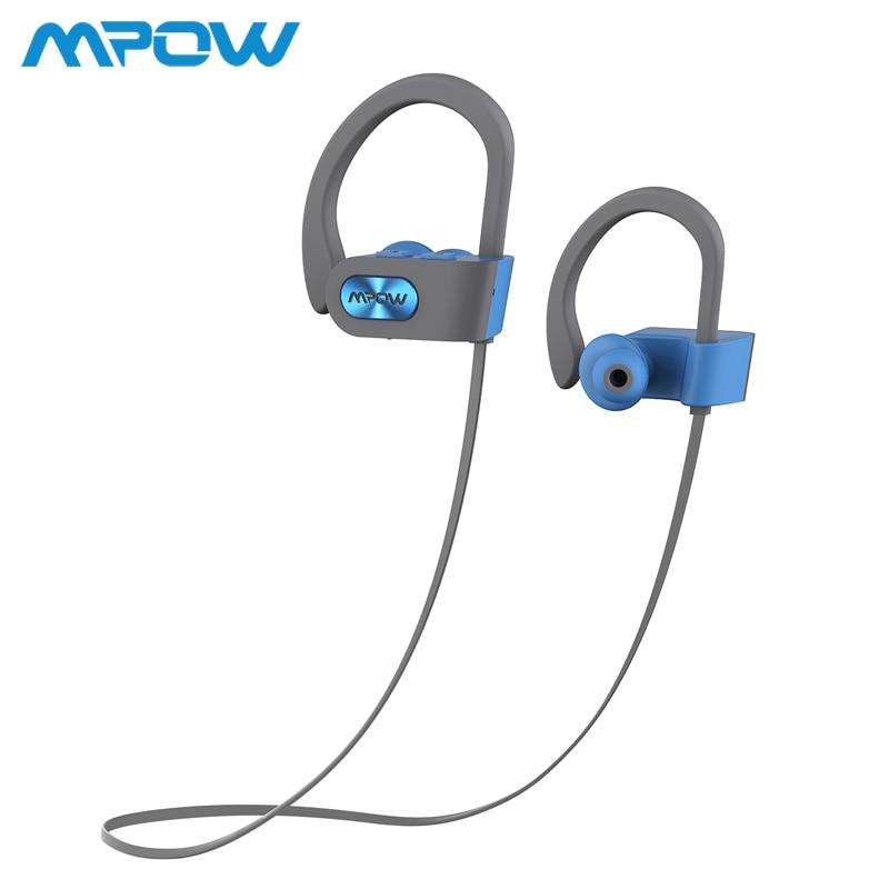 Mpow llama Bluetooth 4,1 IPX7 impermeable auriculares de cancelación del ruido auriculares micrófono incorporado gancho de oreja para teléfono iPhone Huawei Xiaomi
