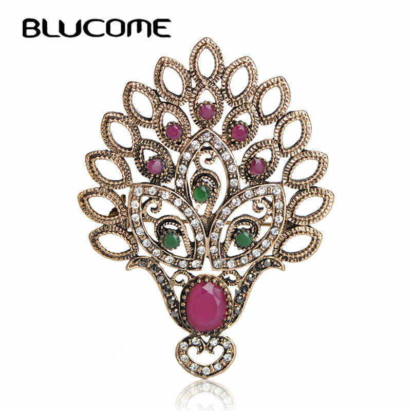 Blucome 2018 Vintage Turkish Turkey Needle Peacock Brooch Wedding Hat Hair Accessories Clips Clothes Jewelry Resin Accessories