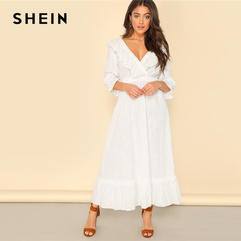 SHEIN скромное белое платье хиджаб с оборками на спине, для женщин, весенний рукав-волан, высокая талия, глубокий v-образный вырез, платья