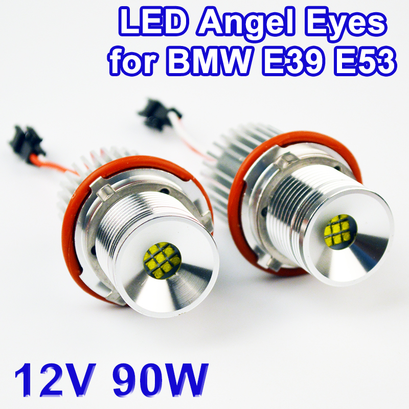 цена на hippcron LED Marker 2*45W 90W Angel Eyes for CREE LED Chips 7000K XENON White (1 Set) for BMW E39 E53 E87 E60 E61 E63 E64 E65