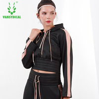 Vansydical Autumn Winter Sports Hoodies Women's Gym Yoga Tops Long Sleeve Loose Exposed Navel Fitness Workout Pullovers
