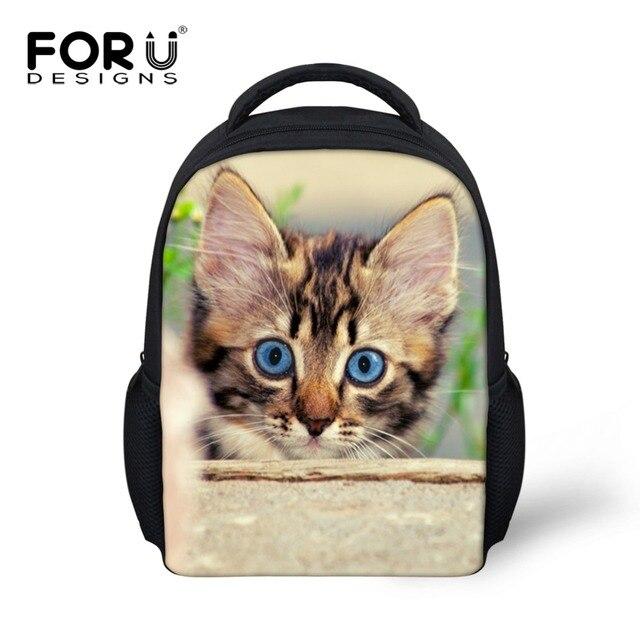 aebfd28af9 Trendy Children School Bags Cute Animal Cat Print Kindergarten Schoolbag  for Girls Casual Kids Shoulder Book