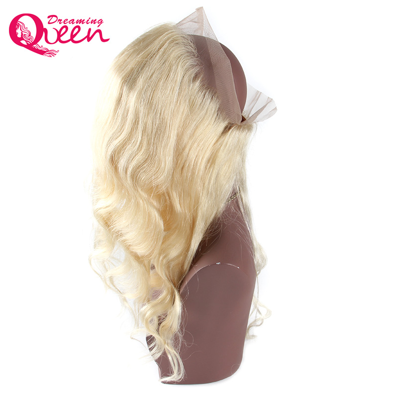 Pre Plucked # 613 360 Lace Frontal Closure Blond Färg Body Wave Hair - Mänskligt hår (svart) - Foto 4