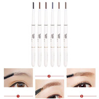 1Pc Fashion Six Colors Double-head Auto-cycling Waterproof Eyebrow Liner Pencil Eyeliner Pen With Brush Makeup Cosmetic Tool Makeup