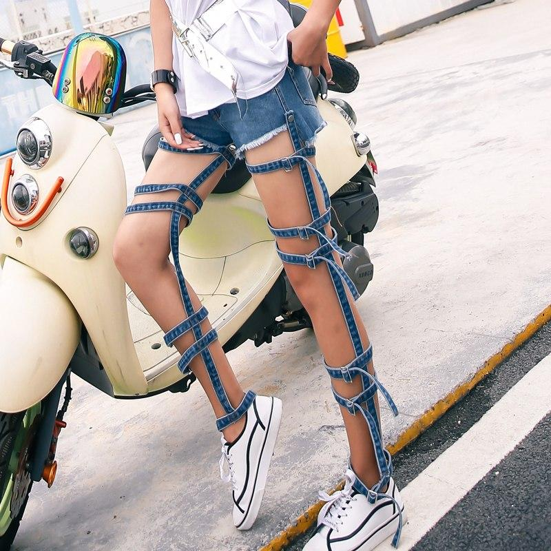 SummerDenim Bandage Trousers For Women Jeans Hollow Out Detachable Two Wear High Waist Female Jeans 2019 Fashion New