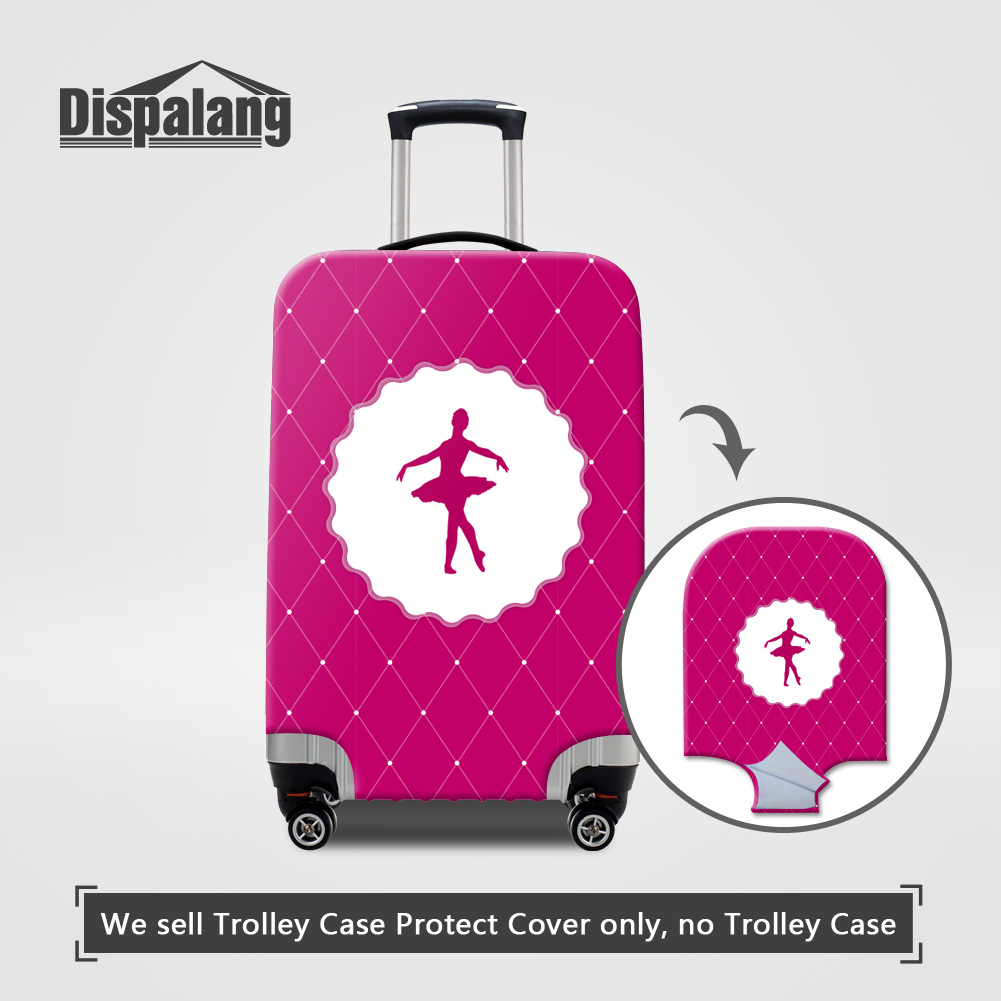 Dispalang 3D printing ballet girl travel luggage suitcase protective cover for trunk case women rain waterproof dustproof covers