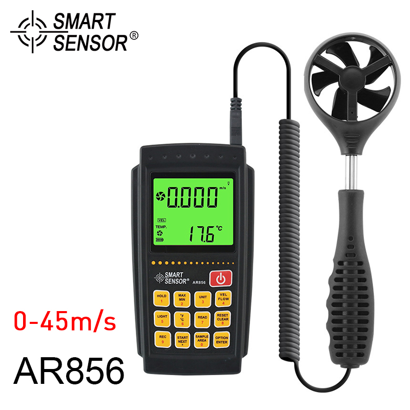 Anemometer SMART SENSOR AR856 Air Flow Tester Anemometer Wind Speed Gauge Portable Speed Measuring Instruments 0-45m/s free shipping gm8901 45m s 88mph lcd digital hand held wind speed gauge meter measure anemometer thermometer