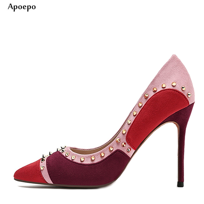 New Newest Mixed Colors Suede High Heel Shoes 2018 Sexy Pointed Toe Rivets Studded Woman Pumps Thin Heels Dress Shoes mcckle woman pointed toe zip high heels sexy party dress pumps female suede thin heel metal pendant stilettios women shoes page 3