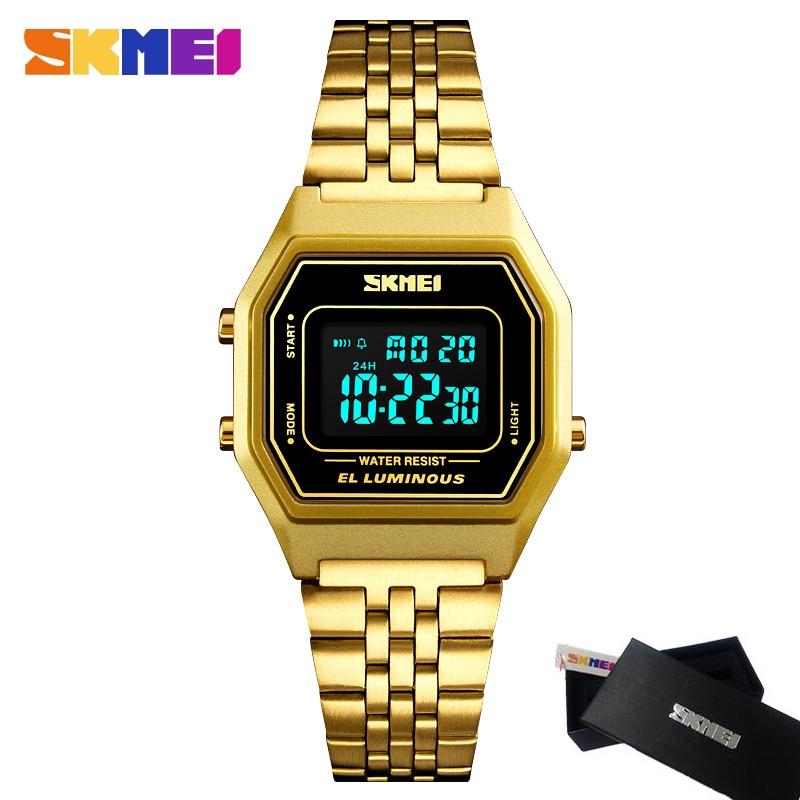 SKMEI Women's Simple Digital Watches Fashion Women Stainless Steel Casual Watch 30M Waterproof LED Clock Relogio Reloj xd342 2015 dz reloj 30m dz4563