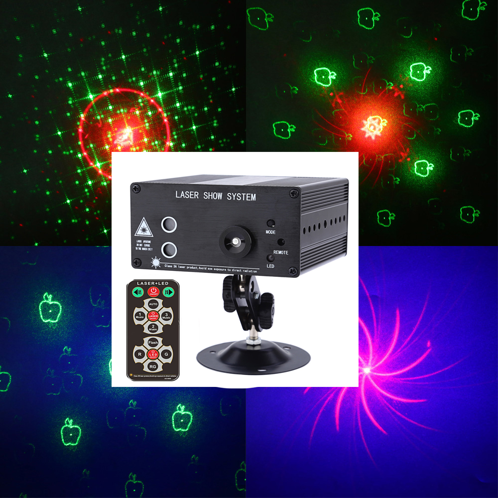 9W 24 Patterns RGB LED Laser Projector Stage Effect Light Voice Control Party Disco DJ led Stage Lights with Remote Controller mini rgb led party disco club dj light crystal magic ball effect stage lighting