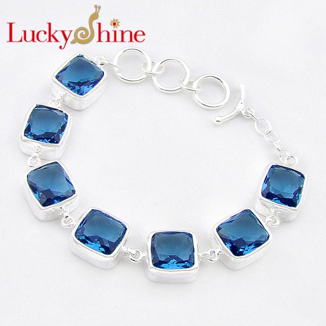 Promoción luckyshine fuego excelente plaza pulido fuego creado topacio azul londres plata plateó las pulseras de cadena rusia australia