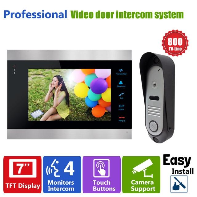 "Homefong 7"" High Resolution Color Video Doorphone Door Entry Intercom Systems 800TVL Outdoor Doorbell Camera+ 1 LCD  Mointor"