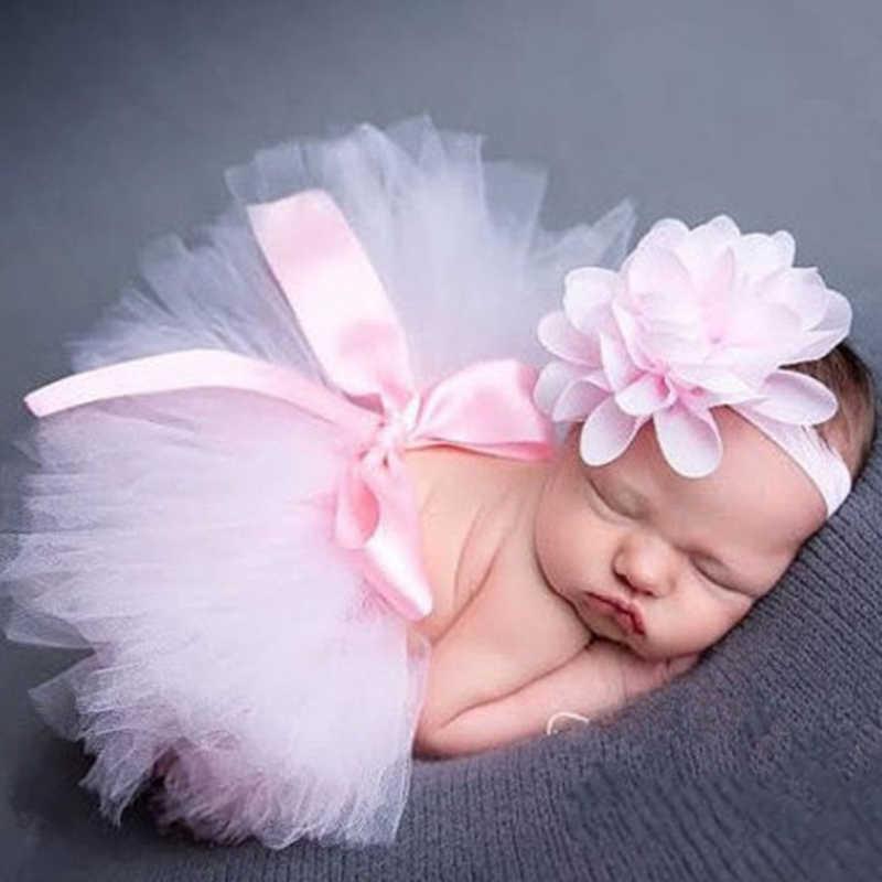 Лидер продаж, фатиновая юбка-пачка для маленьких девочек и повязка на голову с цветами, комплект для новорожденных, реквизит для фотосессии, подарок на день рождения, юбка для малышей