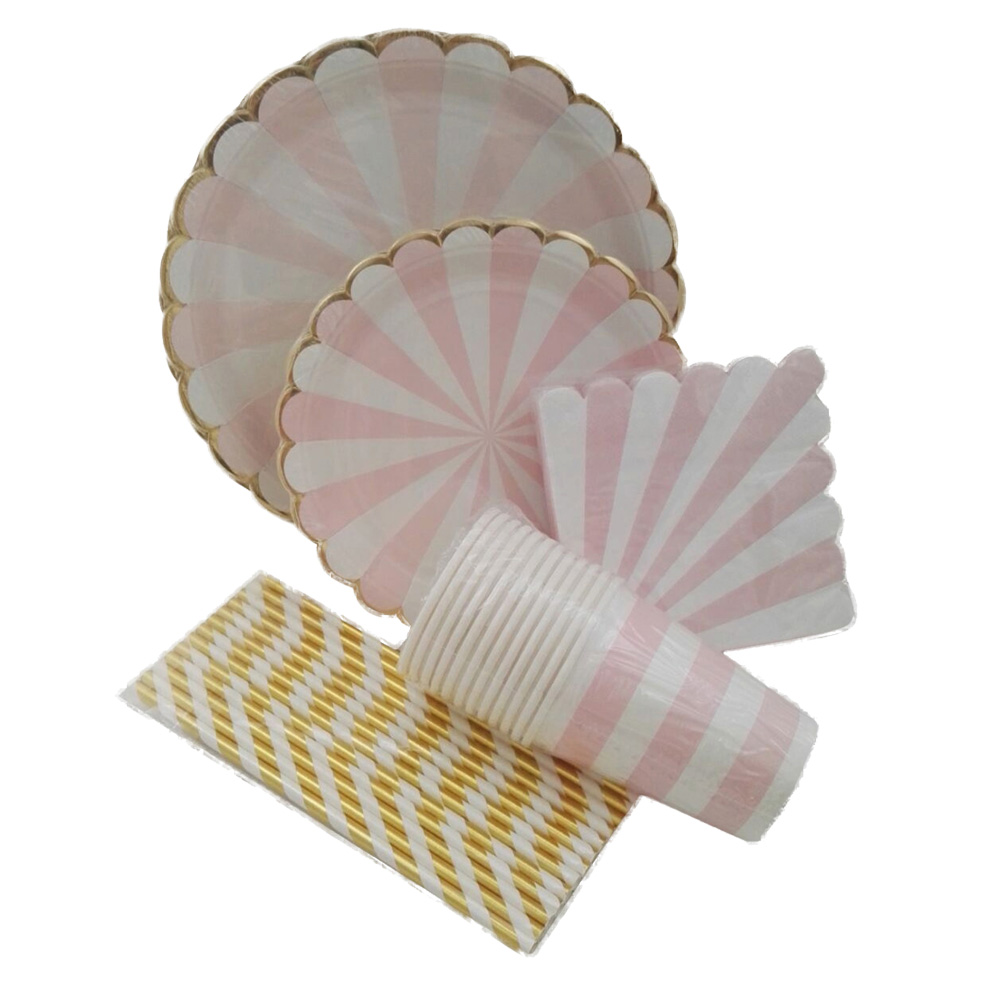 ipalmay Pink Striped Dinner Paper Tableware Plates Cups ...
