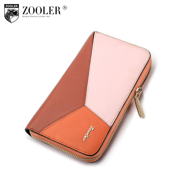 New ZOOLER top quality woman leather clutches handbag purse brand Genuine Leather fashion wallet card holders patchwork bag#u102 large capacity card id holders genuine leather package cluch bag new men s leather wallet fashion leisure leather wallet