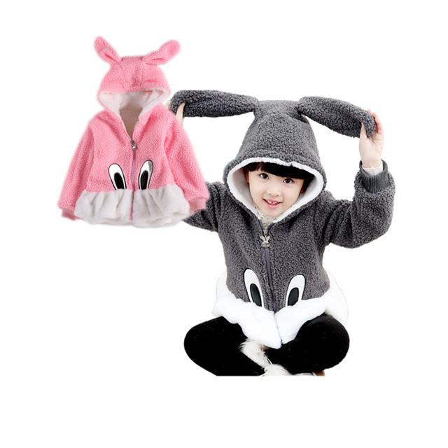 Causal lindo orejas de conejo del bebé sólido cálido abrigo abrigo de lana de cachemira para 1-6yrs cabritos de las muchachas de los niños prendas de vestir exteriores gruesa ropa