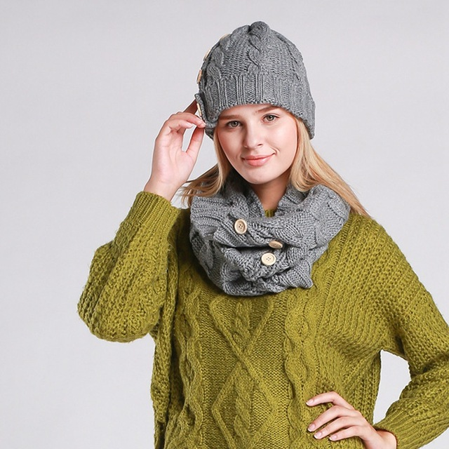 Hat And Scarf headgear For Women Winter Hat girl Russia Knitted Beanie Brand New Year Solid cap unisex Warm Woollen bone