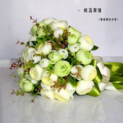 2017 Невесты Свадебный Букет Новый Дешевый Слоновой Кости и Светло-Зеленый Свадебные Цветы Свадебные Букеты Искусственные Свадебный Букет Роза Пион