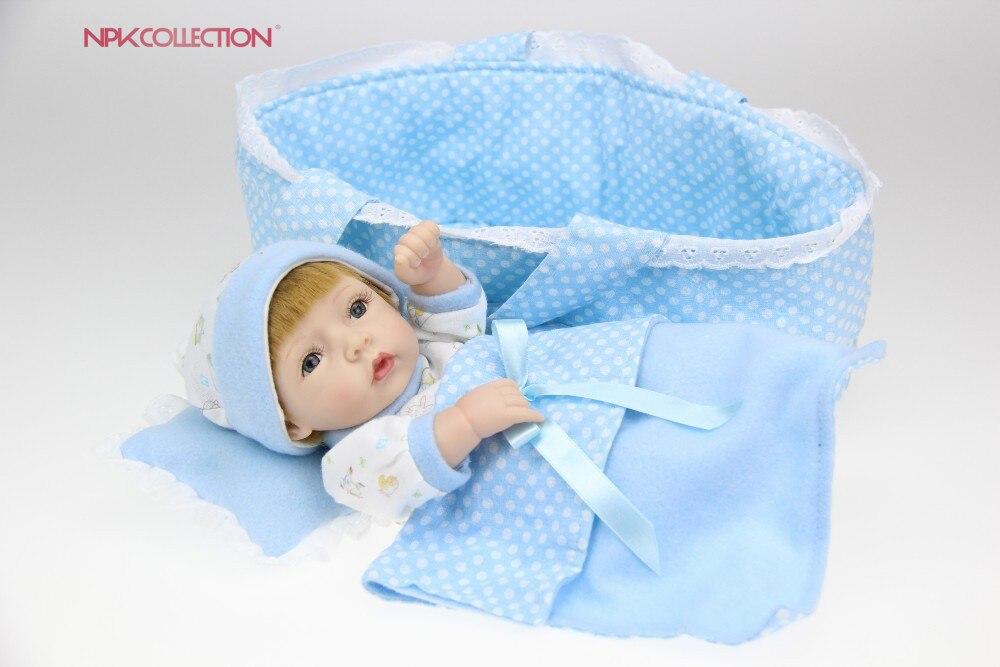 NPK 25cm Soft Silicone Reborn Dolls Baby Realistic Doll Reborn Full Vinyl Boneca BeBe Reborn Doll For Girls