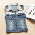 TIC-TEC 2017 New Women Lady Fashion Denim Vest Girl Lace Decoration Sleeveless Denim Tops Blouse vest P1501