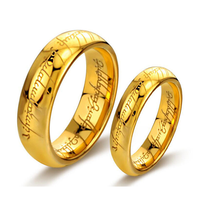 6mm size 6 11 gold color tungsten carbide lotr lord of ring band wedding engagement husband father gift retro buddhist rings