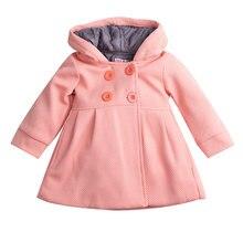Pudcoco/ветровка; детская куртка для маленьких девочек; форменная куртка с капюшоном и длинными рукавами на пуговицах спереди
