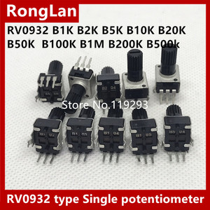 [BELLA]Taiwan RV0932 type single potentiometer 3foot Black B1K B2K B5K B10K B20K B50K B100K B1M B200K B500k 12.5MM--100PCS/LOT(China)