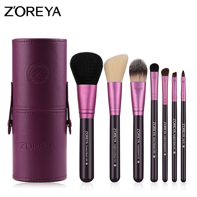 Zoreya 7pcs/set Natural Goat Hair High Quality Makeup Brushes Professional Lip Blush Powder Foundation Eye Shadow MakeUp Tools цена 2017