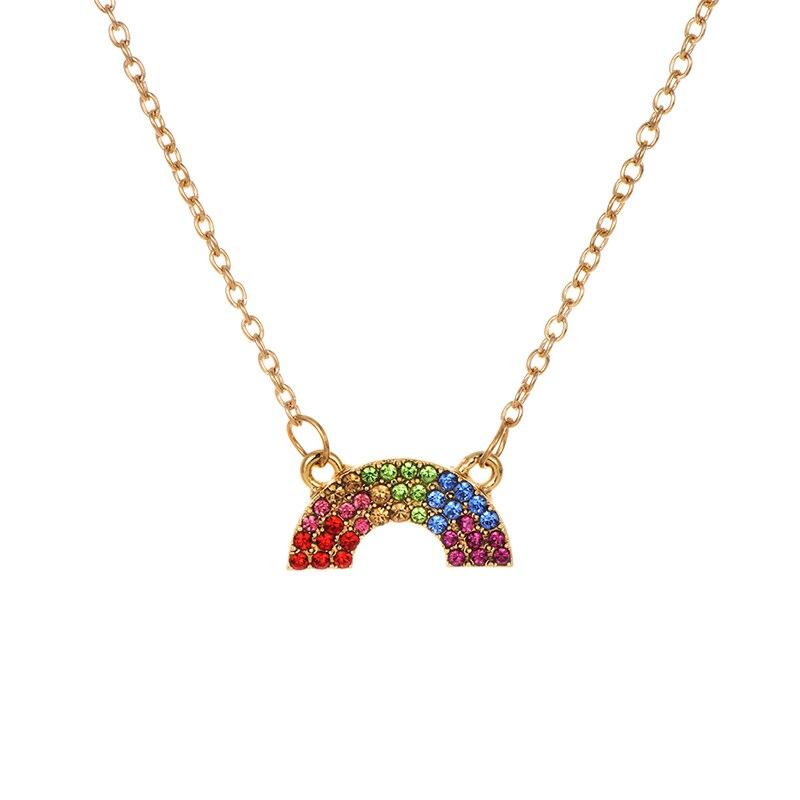 Модное ожерелье с подвеской для глаз для женщин, ожерелье с кристаллами, сексуальные персонализированные чокеры, короткая цепочка на ключицы, ювелирные изделия - Окраска металла: rainbow